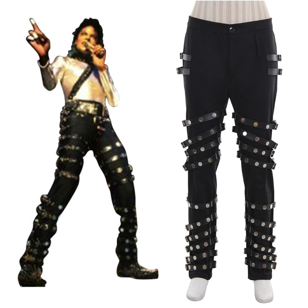 24ce9fd37d4 Michael Jackson Punk Classic BAD Concert Black Pants Trousers Halloween  Carnival Party Cosplay Costume