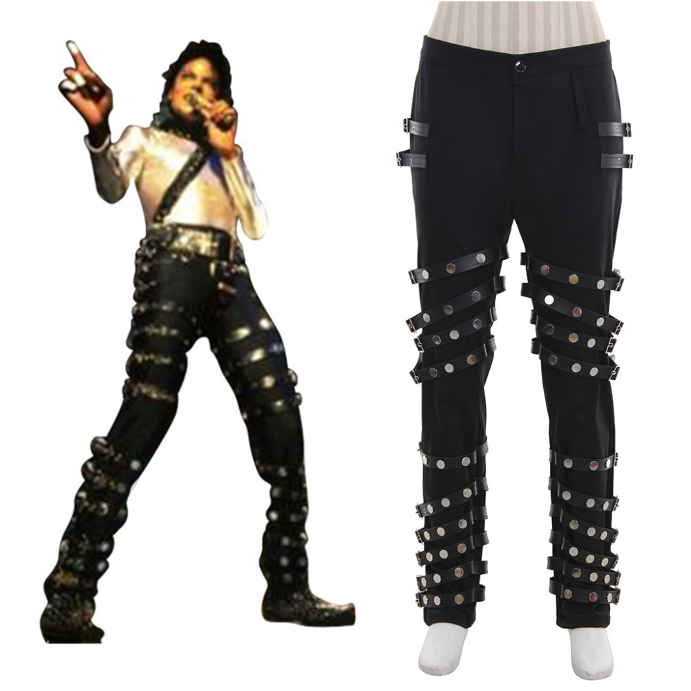 Michael Jackson Punk Classic BAD Concert Black Pants Trousers Halloween Carnival Party Cosplay Costume