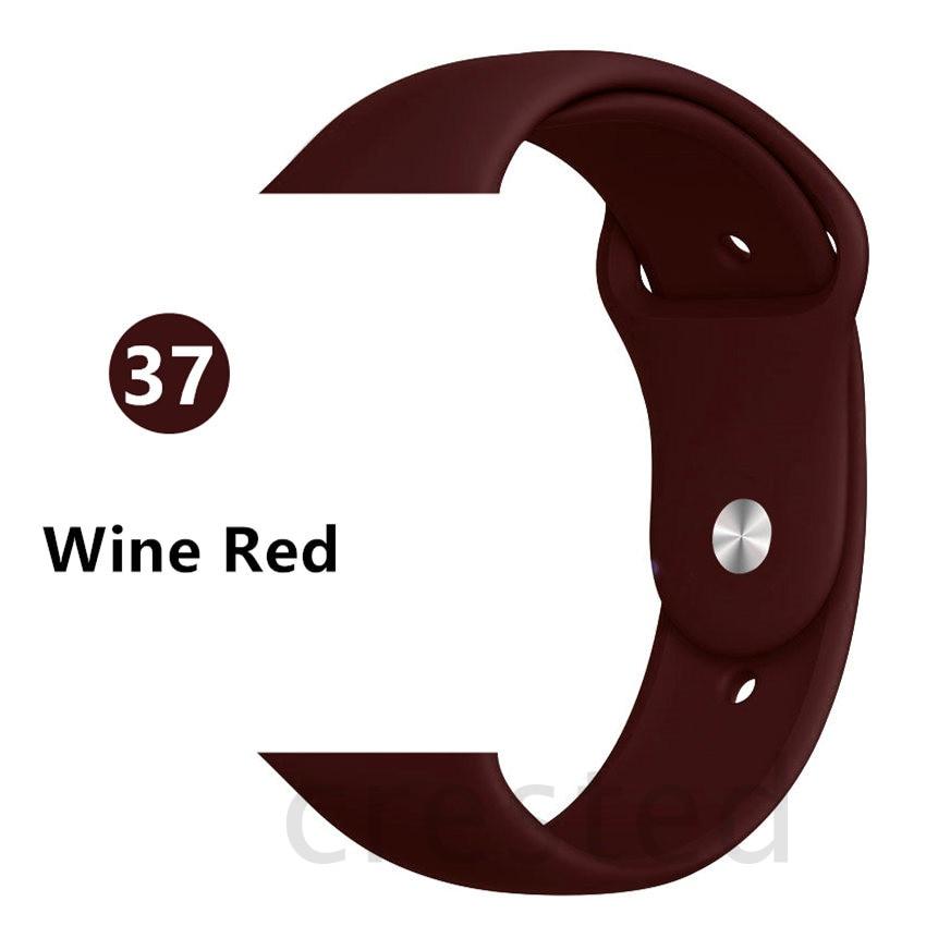 Силиконовый ремешок для apple watch 4 5 44 мм/40 мм спортивный ремешки для apple watch 3 42 мм/38 мм резиновый ремень браслет ремешок для часов apple watch Band Мягкий красочный ремешок iwatch series 4 3 2 1 - Цвет ремешка: Wine red