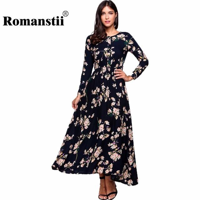 Romanstii Bohemian Dress Women Summer 2017 Evening Black Floral Long