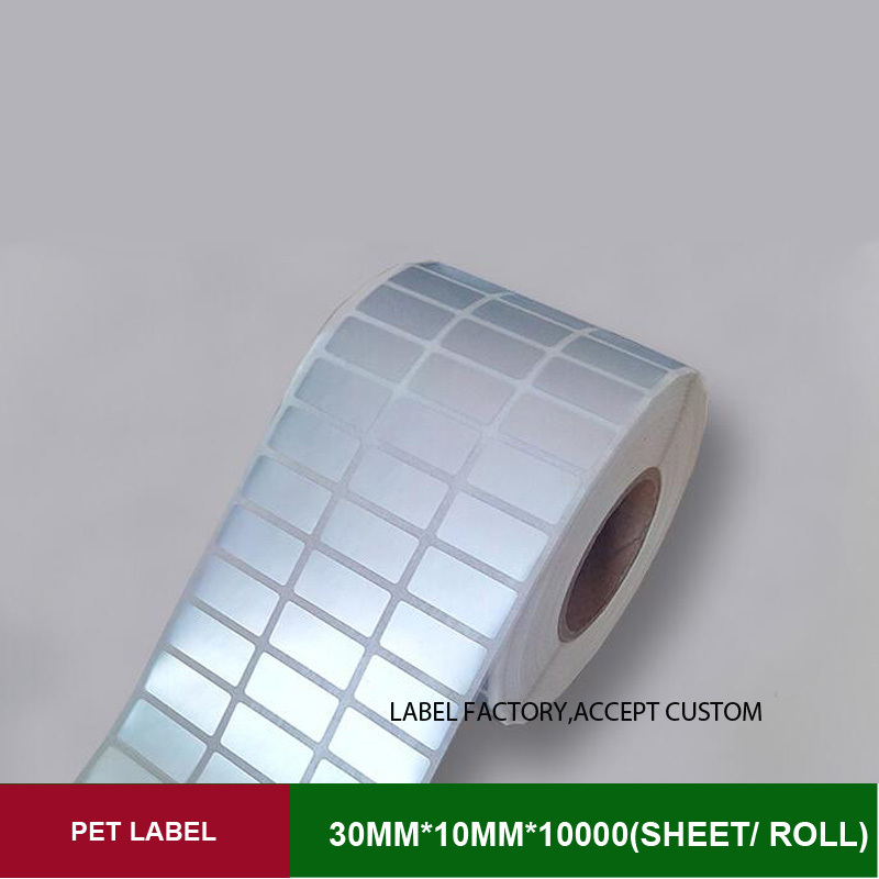 Thermal transfer PET Scratch-resistant sticker labels paper 30*10mm 10000pcs papel adhesivo technical barcode for authority mark