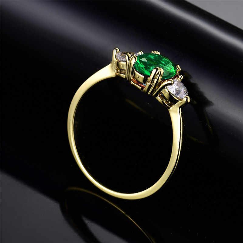 BUDONG femmes Infinity anneaux or couleur bague ovale vert et blanc cristal anneaux bijoux en gros fête mode marchandises xuR221