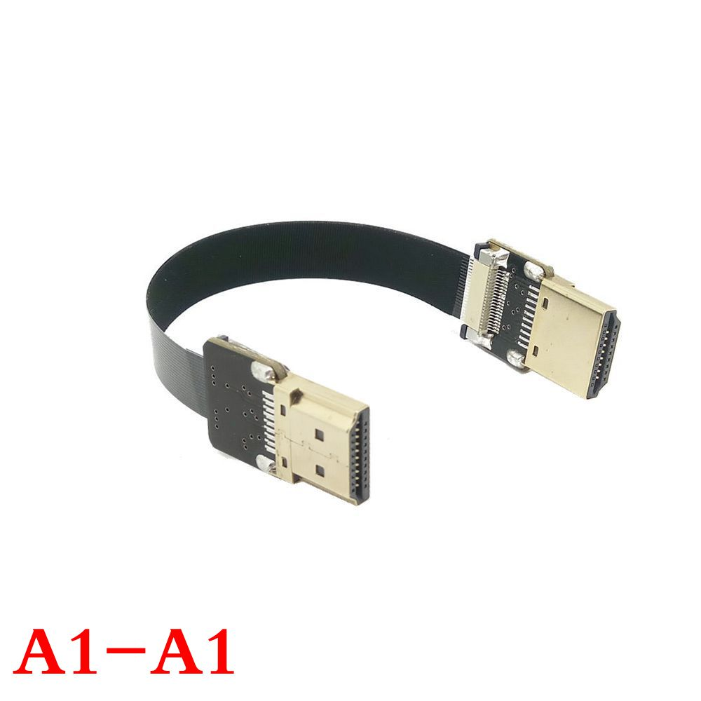 FPV HDMI Type A Male & Female to Down & UP Angled 90 Degree HDTV FPC Flat Cable for Multicopter Aerial Photography 10cm-100cm