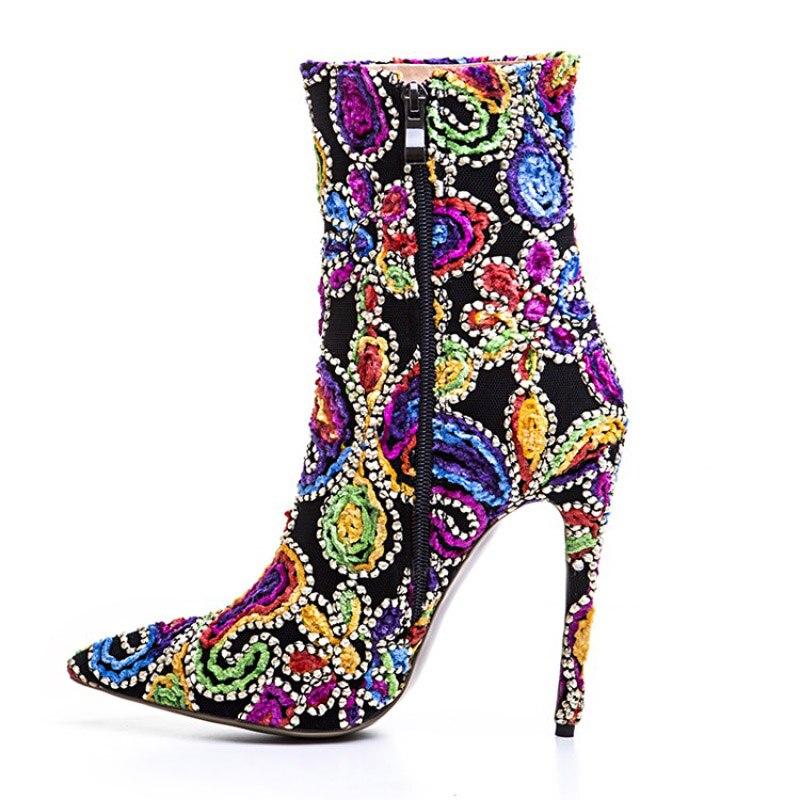 red Mode Talons Vintage Broderie Blue Strass Chaussures 2017 Femme Cheville Hauts Femmes Bout Martin purple De Bottes Joyhopy Creative Pointu qHOzS