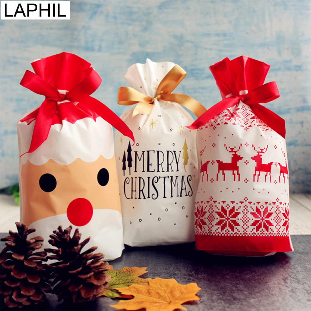 LAPHIL 10pcs Christmas Tree Christmas Gift Bags Lot Santa Claus Gift Bags Xmas Candy Bag Merry Christmas 2018 New year Favors