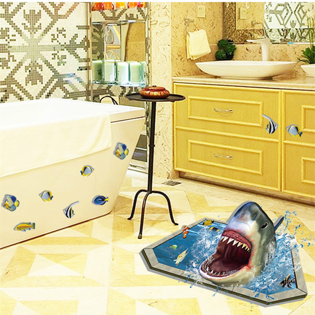 3D Sea Shark Eat Fish Wall Sticker Removable Vinyl Art Decals Kid ...