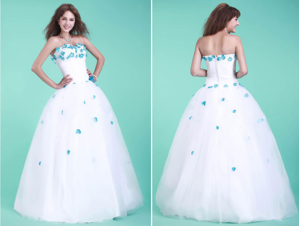 white and teal wedding dresses | Wedding