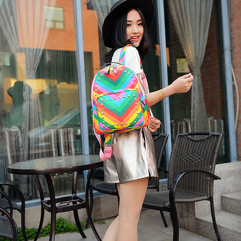 New Fashion Multicolour Brand Rainbow Rivet Pattern Colorful Stripe Travel backpack Women Girls Casual Bags