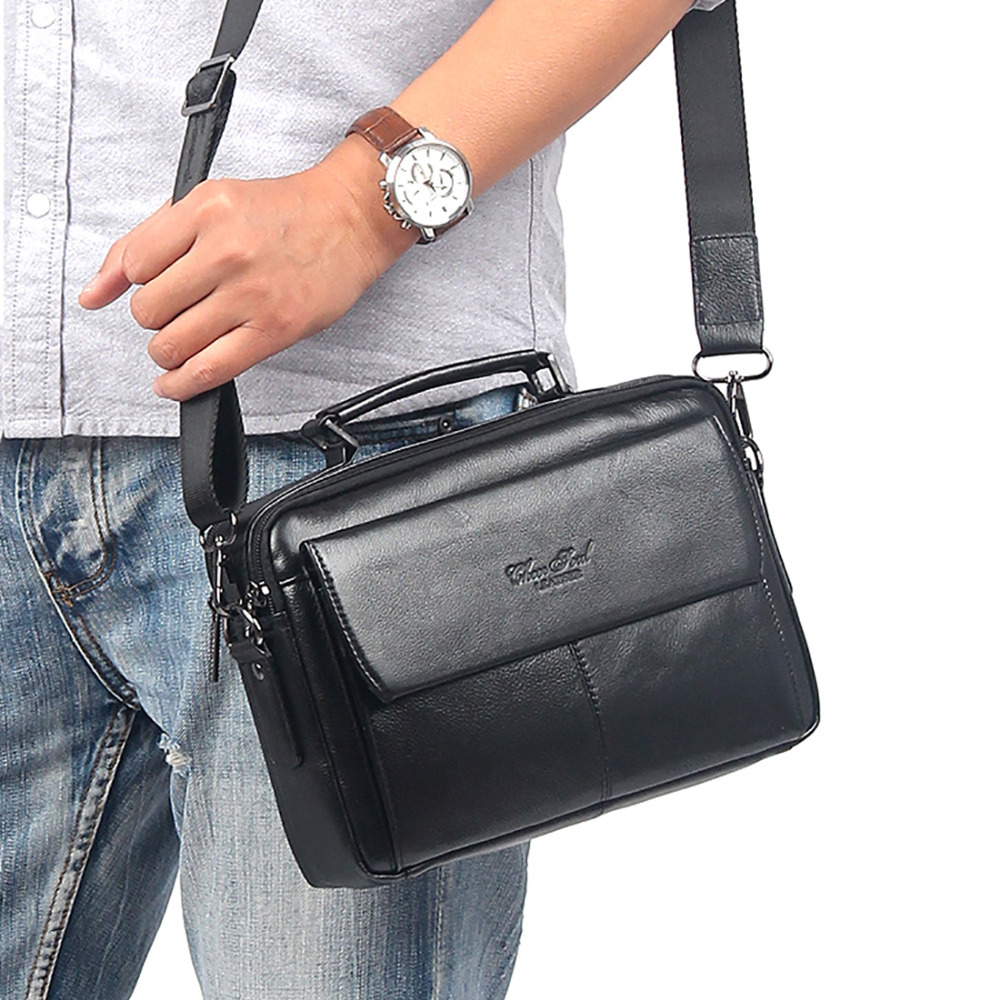 New 100% Genuine Leather Business Messenger Sling Shoulder Bag First Layer Cowhide Men Tote Handbag Famous Brand Cross Body Bags new style simple casual first layer of cowhide male one shoulder bag genuine leather men s handbag business messenger small bag