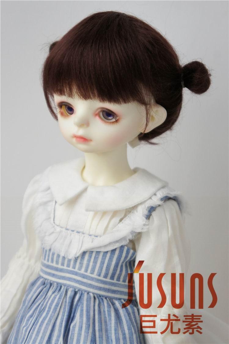 JD415 большой размер две косы BJD мохер парики в размере 8-9 дюймов 10-11 дюймов для кукол мягкие модные волосы куклы аксессуары - Цвет: 8-9inch Coffee Black