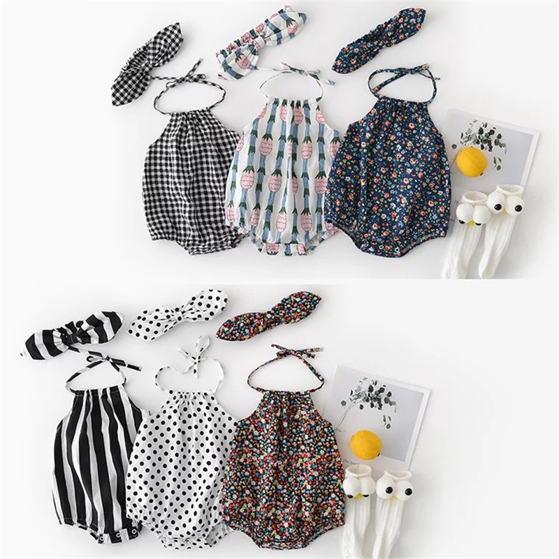 2019 Hot Sale Newborn Baby Girl   Romper   2pcs Baby Girls Clothes Jumpsuit   Romper  +Headband 0-24M Infant Baby Clothes