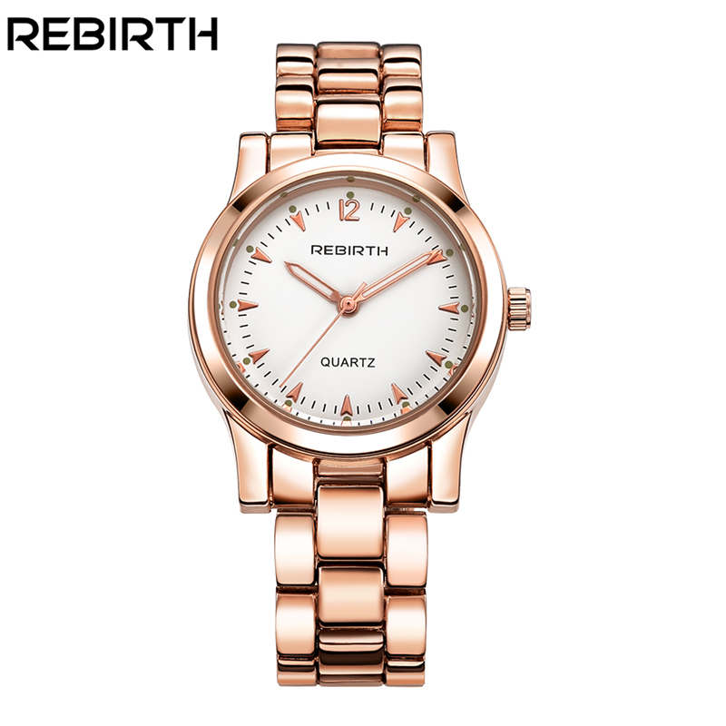 Womens watches Brand Luxury REBIRTH Gold Watch Ladies Quartz Wristwatch Woman Clock Relogio Feminino Relojes Mujer Hodinky Women baosaili brand luxury crystal gold watches women ladies quartz wristwatches bracelet relogio feminino relojes mujer bs001