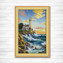The lighthouse sea scenery decor paintings counted print on canvas DMC 14CT11CT DMS Cross Stitch Embroider Home Decor Needlework