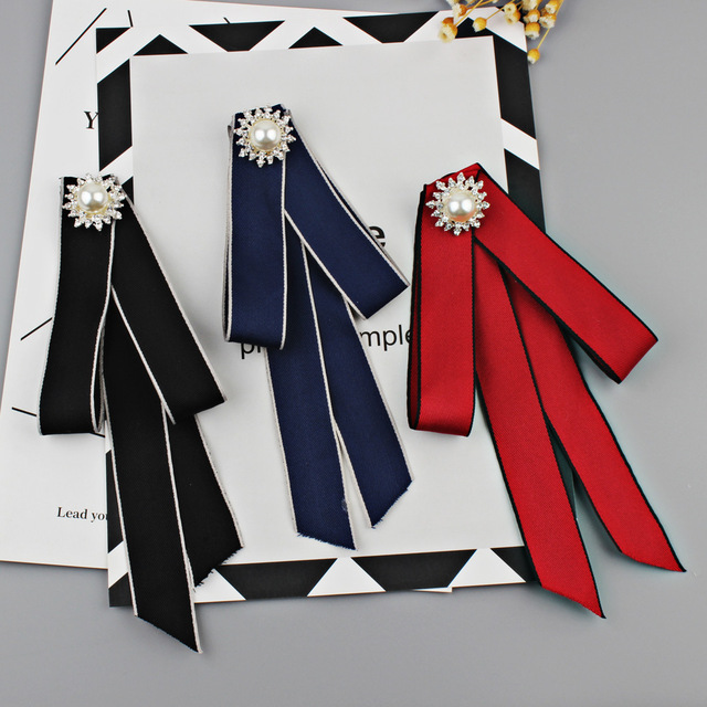 US $8 99  2pcs 21*12cm New Fashion Woman & Man Ribbon Brooches Pearl  Shirt's Bow Tie Pins Big Bowknot Collar Accessories DIY Supply Craft-in DIY  Craft