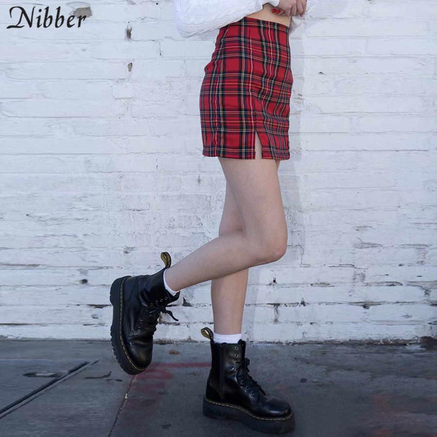 Nibber в японском стиле простая красная клетчатая мини-юбка женская 2019 летняя новая мода Высокая талия уличная Короткая юбка для отдыха