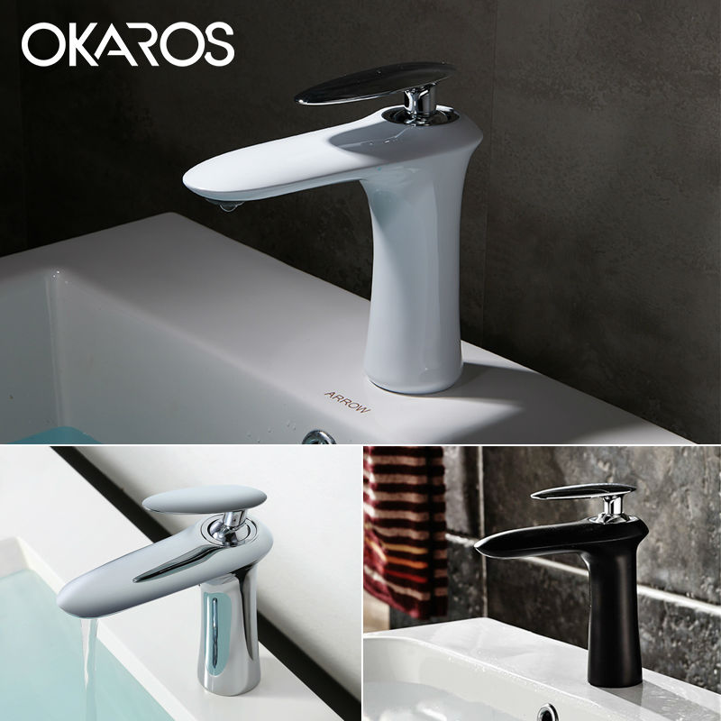 OKAROS Modern Bathroom Basin Faucet White Black Paint Baked Chrome Finish Single Handle Hot Cold Water Vessel Sink Tap Faucets micoe hot and cold water basin faucet mixer single handle single hole modern style chrome tap square multi function m hc203