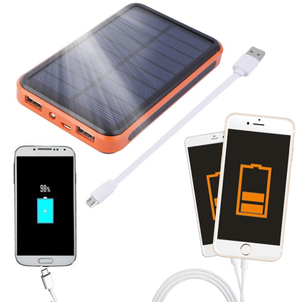 bilder für 10000 mAh Wasserdichte Tragbare Solar Power Bank Dual USB Solar Schnelle Ladegerät für Xiaomi Iphone Sumsang Smartphone 2017 Neue ankunft