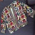 Barroco Impreso Floral de Tres Cuartos Del Bordado Chaquetas, Más El Tamaño XXL 2XL Mujeres de Moda Capas de la Chaqueta Outwear Traje de Playa Brasil
