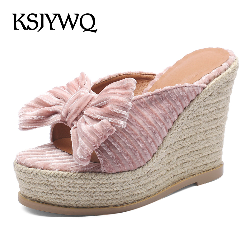 цены KSJYWQ Open-toe Women Slippers 11 CM High Heel Wedges Summer Style Sheep Leather Mules Sexy Ladies Party Shoes Box packing 119