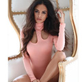 European Spring/winter Sexy Fashion Women Jumpsuits Tops Slim Sheath Halter Long Sleeve Cotton Nightclub Pink Bodysuits