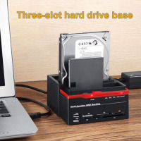 3 Slots Hard Disk Holder 2 USB Port Multi function Hard Disk Drive Base for Card Reader DJA99
