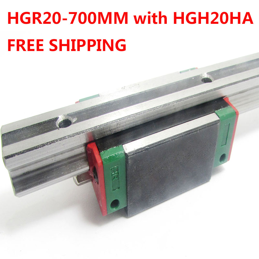 1PC free shipping HGR20 Linear Guide Width 20MM Length 700MM with 1PC HGH20HA Slider for cnc xyz axis large format printer spare parts wit color mutoh lecai locor xenons block slider qeh20ca linear guide slider 1pc