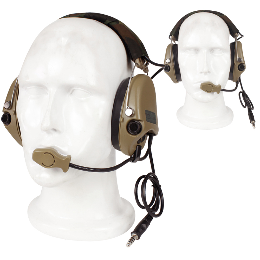 Tactical Headset Noise Reduction Canceling Earphone Over Ear Headphone for Military Airsoft Paintball Hunting With Microphone