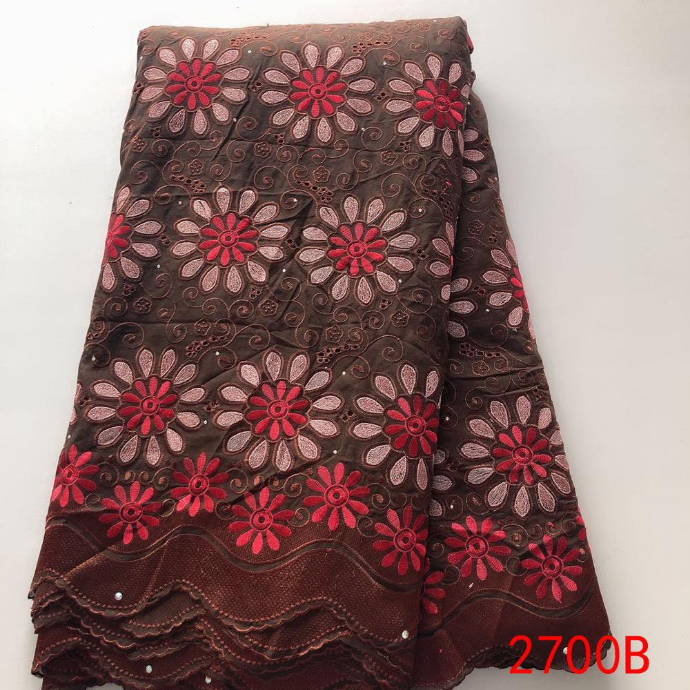 Nigeria Lace Fabric 2019 Latest Swiss Voile Lace In Switzerland With Stones African Cotton Embroidery Lace Ks2700B