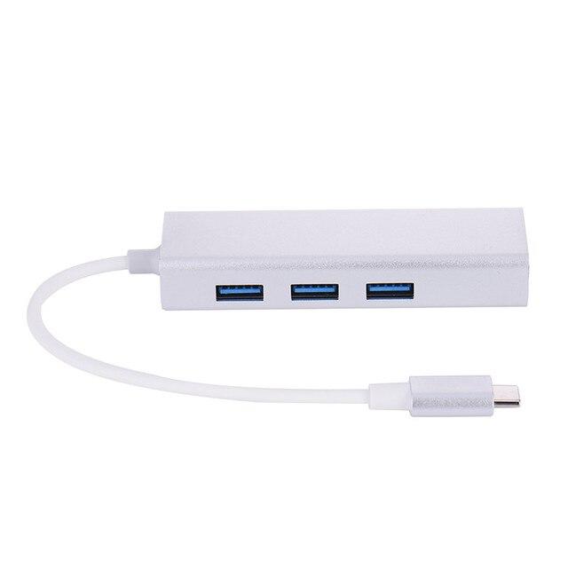 2 Cor Adaptador Hub USB3.0 com Porta RJ45 para Tipo-C Fast Speed USB Hub usb 3.0 para Notebook Tablet Da Gota grátis