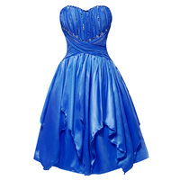 Tanpell Strapless Cocktail Dress Elegant Royal Blue Sleeveless Asymmetry A Line Gown Women Party Homecoming Short