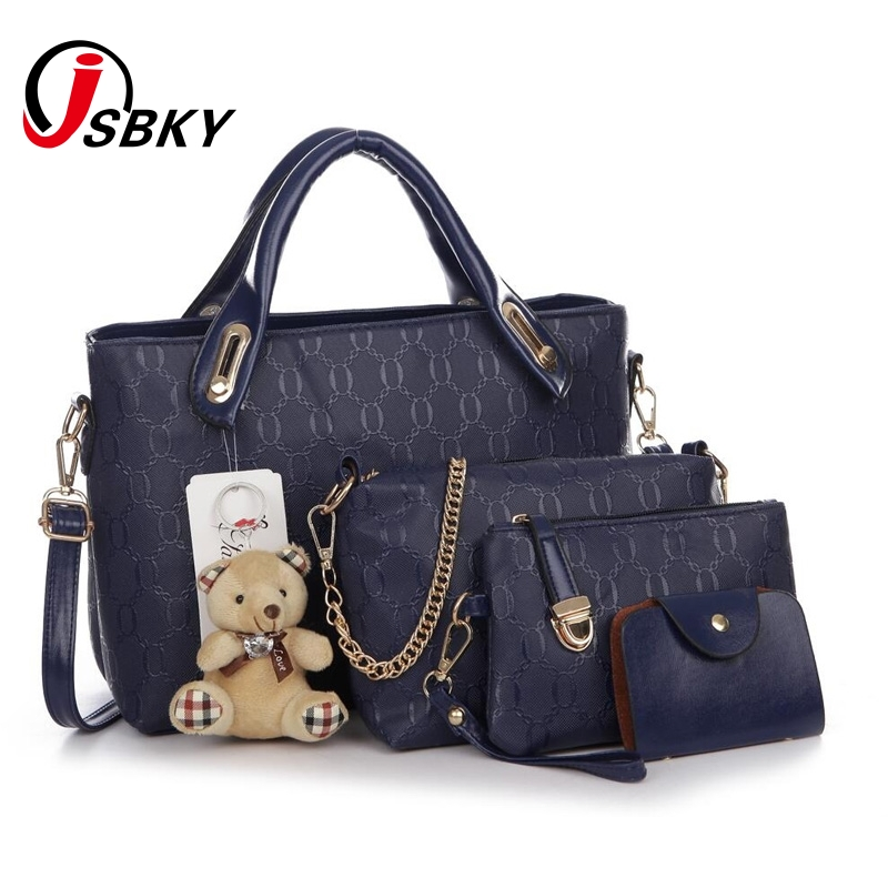 06145f055e JSBKY Women Bag 2017 Fashion Women Messenger Bags Handbags PU Leather  Female Bag 4 piece Set Free Shipping