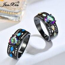 Boho Female Big Blue Pink Rainbow Stone Ring Vintage Black Gold Wedding Rings Promise Opal Engagement For Women