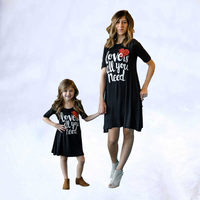 mother and daughter dress clothing Fashion mom girls dress 2019 new Family matching outfits Summer letter love printing