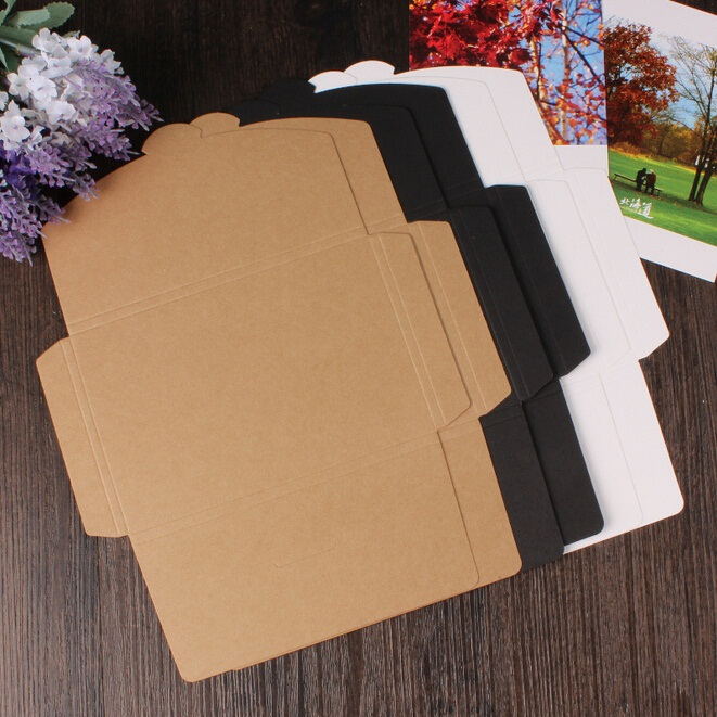 50pcs/lot 3 Colors Vintage Blank Kraft Paper DIY Multifunction Envelope Postcard Box Package Paper Wholesale