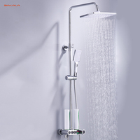 BAKALA Bathroom Shower Set 3 Functions Intelligent LCD Digital Display Shower Mixer Shower Faucet 8 Rainfall