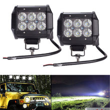 "Auto Led Light Bar 18W Werk Licht Lamp Cree Chip LED 4 ""Motorfiets Trekker Boot Off Road 4x4 4WD Truck SUV ATV 12V(China)"