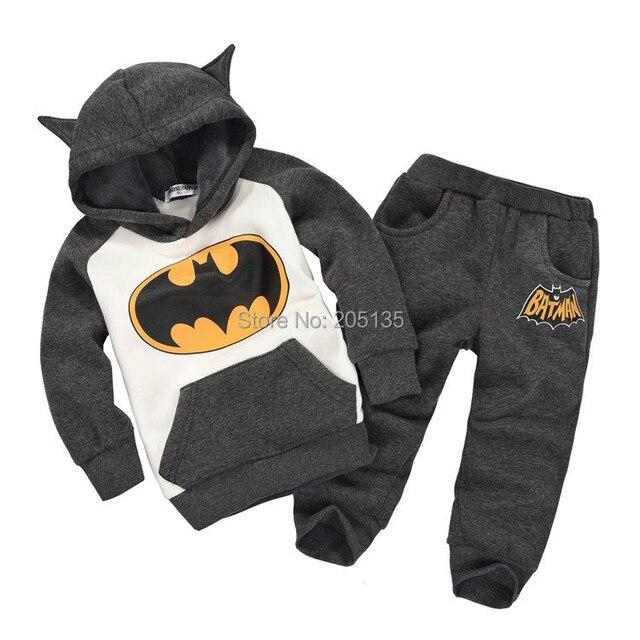 2016 Новый Осень Зима Детская одежда набор мультфильм дети бэтмен костюм детей малышей спортивные костюмы с капюшоном пальто + брюки розничная