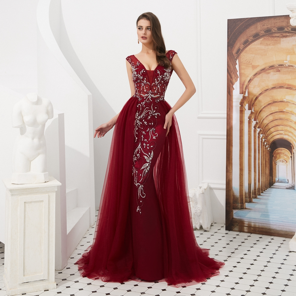 Купить с кэшбэком Evening Dresses Long 2020 Wholesale Luxury Sexy Mermaid Gray/Wine Red Train Sleeveless Beading Crystal Evening Gowns Prom Party