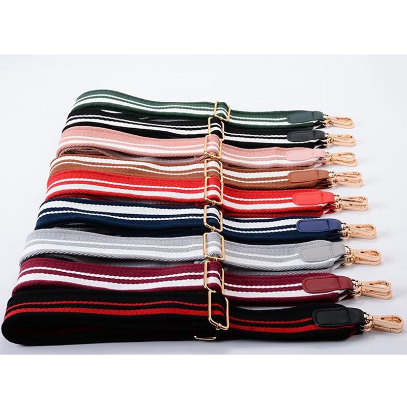 Fashion Cotton Bag Strap Colorful Stripe Wide Strap Accessory Handles Adjustable