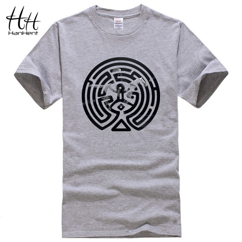 HanHent 2018 New Westworld Maze Printed   T     Shirts   Men Short Sleeve O-neck Cotton West World Dolores Men Fashion   T  -  shirt   TV Tees