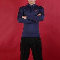 Men Ballroom Dance Top Long Sleeves Standard Dance Salsa Rumba Practice Dancing Wear Slim Latin Waltz Tops Shirt 4 Colors DC2039