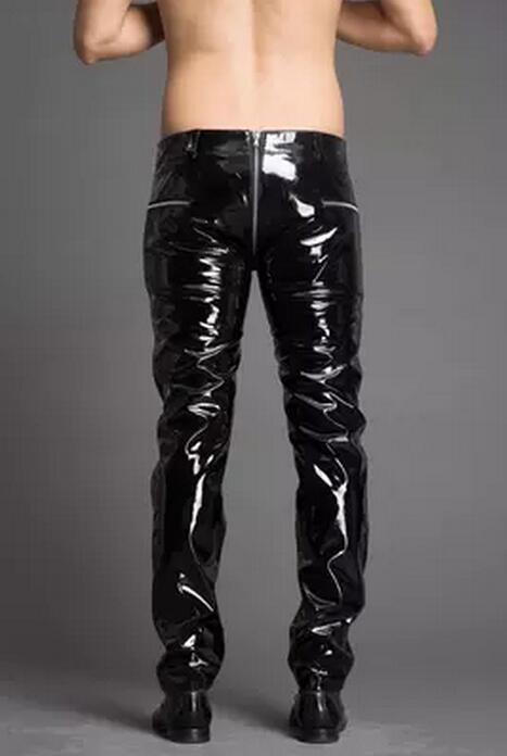 a1249283a8 28 38! 2017 nueva ropa delgada de la manera de los hombres pantalones de  cuero ajustados Tong cremallera más tamaño charol pantalones hombres trajes  bar en ...