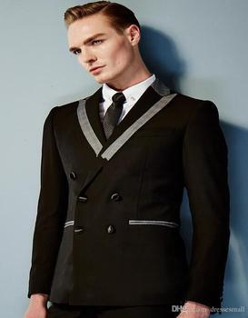 Gentleman Style Top Quality Closure Collar Double Breasted Suit Casual Dinner Suit Wedding Party Clothes (jacket+pants)