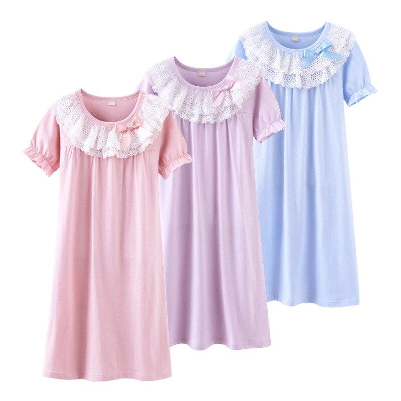 Ночная рубашка принцессы, летняя кружевная пижама для девочек, осенняя одежда для сна, хлопковая детская ночная рубашка, Детская домашняя одежда, розничная торговля|Ночные сорочки| | АлиЭкспресс