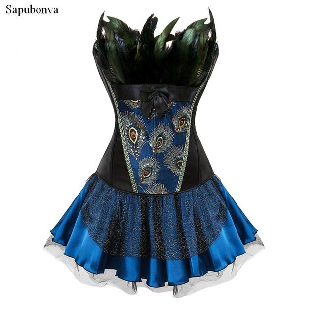 8018c1a66b Sapubonva corset dress halloween feathers burlesque gothic vintage style overbust  corset bustier skirt steampunk corselet sexy