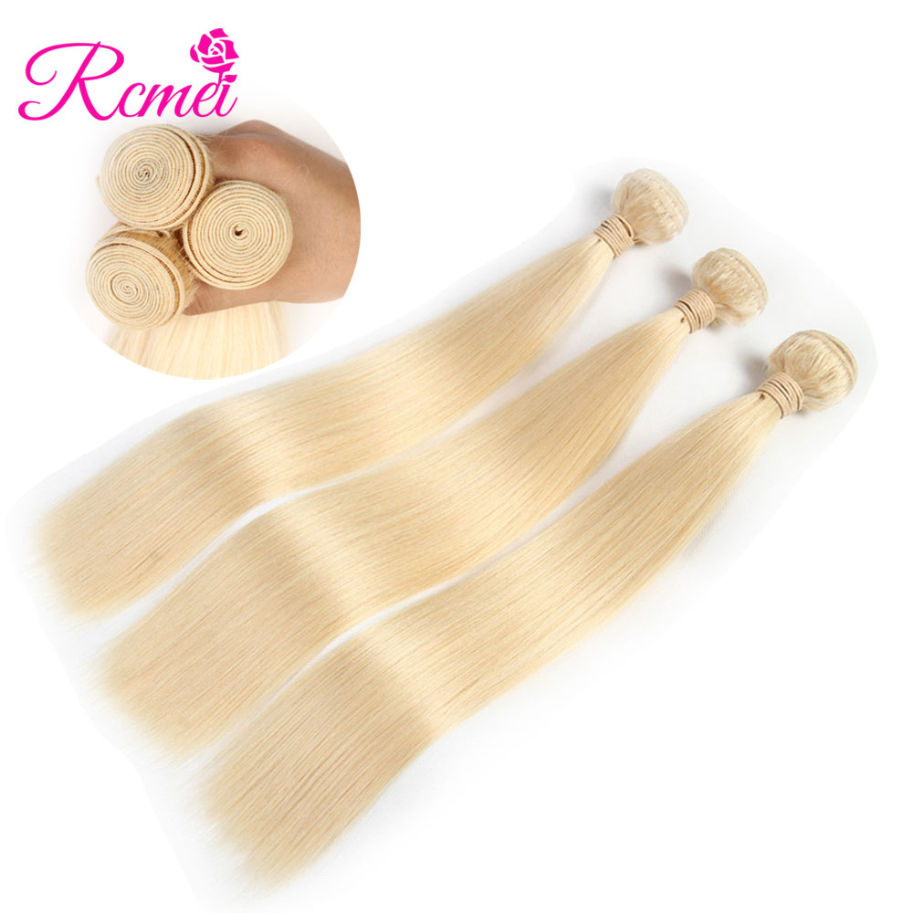Long Length Hair 613 Blonde Hair Weave Brazilian Straight hair Weaving 3/4 Bunlde Deal 10-30 Inch Pre-Colored Bundle Pack Rcmei ...