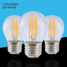 Lampe à Filament Led, G45 E27, 2W 4W 6W, ampoule boule rétro Edison, blanc chaud/blanc, ac 120V 110V