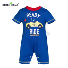 Inexperienced House New child Romper Boy Garments Toddler Jumpsuit 100% Cotton Cartoon Child Romper Brief Sleeves Toddler Garments Child Costume