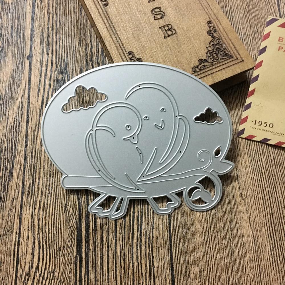 11.1*9cm new scrapbooking DIY cute 2 bird love shape steel cutting die sweet wedding Book photo album art card cake Dies Cut