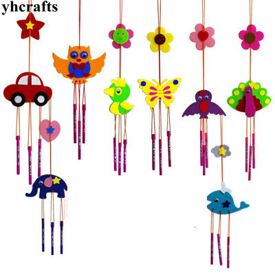 1PC/LOT.8 design choose DIY unfinished wind chime craft kits fabric aeolian bells Kindergarten Pocket crafts Early learning toys